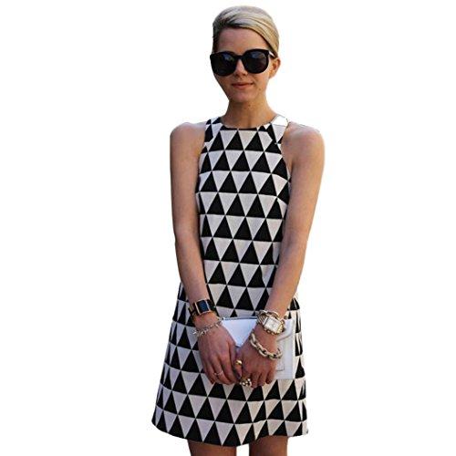 Women Dress,Sexyp Sexy Fashion Print Summer Casual Dress Sleeveless Pencil Party Beach Short Mini Skirt (Black, M)