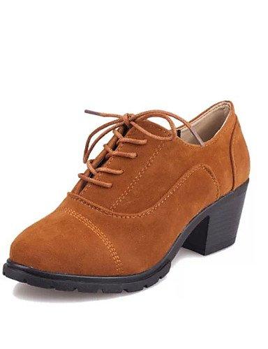 ZQ hug Zapatos de mujer-Tacón Robusto-Punta Redonda-Tacones-Casual-Semicuero-Negro / Amarillo / Rojo , yellow-us8 / eu39 / uk6 / cn39 , yellow-us8 / eu39 / uk6 / cn39 red-us6.5-7 / eu37 / uk4.5-5 / cn37