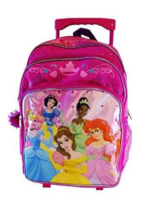 Amazon.com: Disney Princess Large Rolling BackPack - Princesses ...