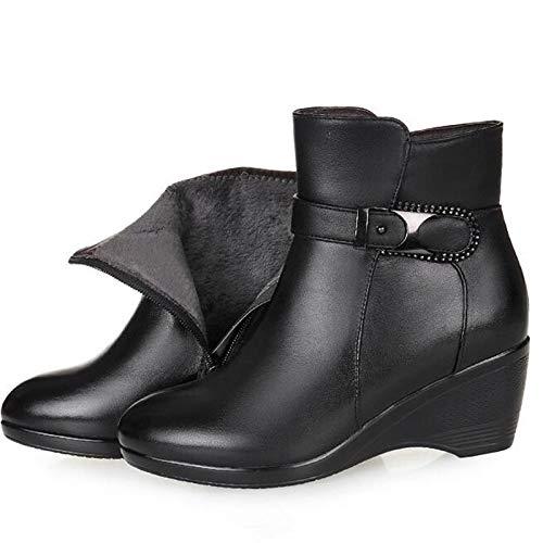 Zapatos Tacones Cálidas Invierno Botas De Para Nieve Pingxiannv Y Con Mujer Pendiente Cuero Cómodas Antideslizante dTAOd