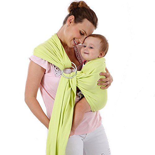 ThreeH Baby Ring Sling Carrier for Newborn Organic and Oxidized Metal Ring Wrap BC14,Green ()