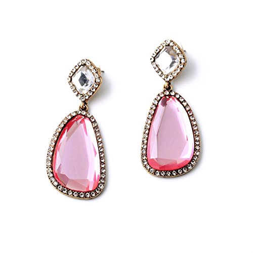 New Bezel Set (JD Million shop Irregularity Bezel-set Rhinestone New Design Pink Crystal Party Earrings For Women)