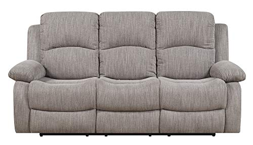 Emerald Home Furnishings Hennessy Textured Wheat Reclining Sofa with Dual Recliners and Pillow Arms