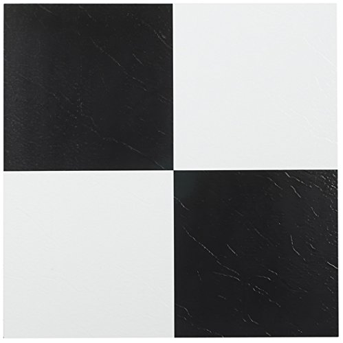 Achim Home Furnishings FTVSO10345 Tivoli Self Adhesive Vinyl Tiles, 12 x 12-Inches, Black/White, 45 Pack -