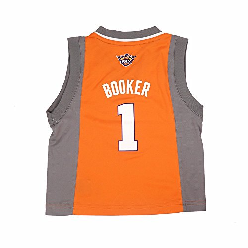 fan products of Devin Booker Phoenix Suns NBA Adidas Toddler Orange Official Alternate Rreplica Basketball Jersey (2T)