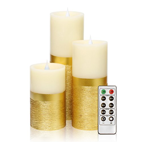 GiveU Dancing Flame Candle with Remote Control, Dancing Flame Led Pillar Candle with Timer, 5,7,9 Inch, Batteries Included, Gold, Set of 3