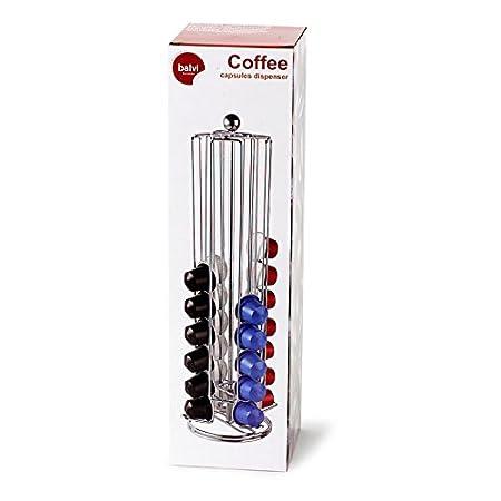 Balvi - Tower dispensador y Organizador para cápsulas de café. Compatible con cápsulas de café Nespresso. Capacidad: 40 cápsulas. Giratorio.