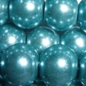 100 pieces 6mm Glass Pearl Beads - Turquoise - A0961 k2-accessories