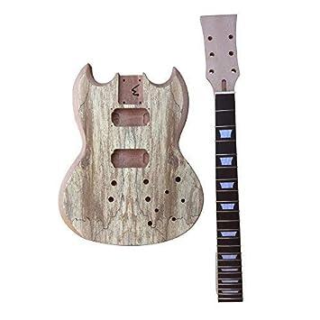 gd515 con tornillo caoba cuello y cuerpo, Spalted Arce REVESTIDO REVESTIDO Top Guitarra Eléctrica Hazlo