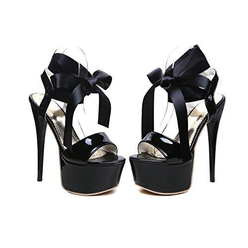 YE Damen Extrem High Heels Plateau Stiletto Lack Sandalen Pumps mit Schnürung Party 16cm Absatz Schuhe Schwarz