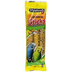 Vitakraft Parakeet Treat Sticks Variety 3 Pack (Orange, Egg & Honey, Sesame & Banana), 2.4 Ounce