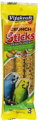 Sticks Egg (Vitakraft Parakeet Treat Sticks Variety 3 Pack (Orange, Egg & Honey, Sesame & Banana), 2.4 Ounce)