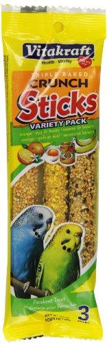 Vitakraft Parakeet Treat Sticks Variety 3 Pack (Orange, Egg & Honey, Sesame & Banana), 2.4 Ounce (Parakeet Orange Sticks)