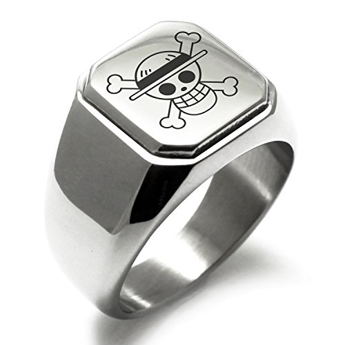 Stainless Steel One Piece Monkey D Luffy Straw Hat Pirate Skull Flag Engraved Square Flat Top Biker Style Polished Ring, Size 9