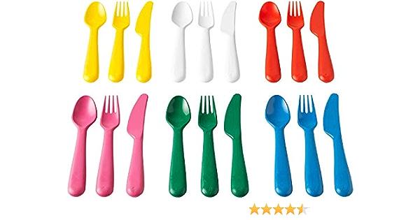 IKEA KALAS 804.213.32 - Cubertería (plástico, 6 cuchillos, 6 tenedores, 6 cucharas, 3 años, multicolor