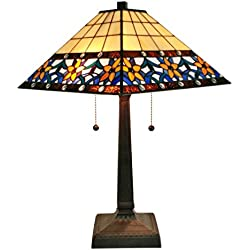 Amora Lighting AM242TL14 Tiffany Style Floral Mission Table Lamp 23 In High