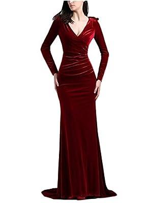TANGFUTI Long Sleeve Velvet Mermaid Formal Evening Dresses Long Prom Gowns 131