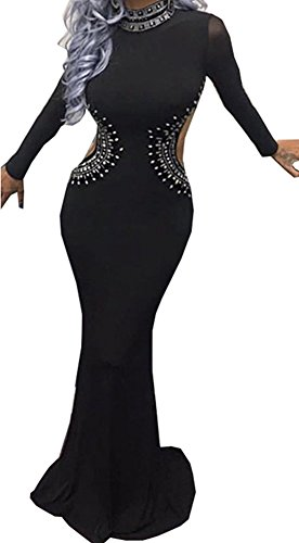 long black fitted maxi dress - 3