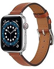 Danwon Pulseira de couro fina compatível com Apple Watch 38/40 mm 42/44 mm, pulseira ultrafina feminina de couro legítimo para iWatch SE Series 6/5/4/3/2/1