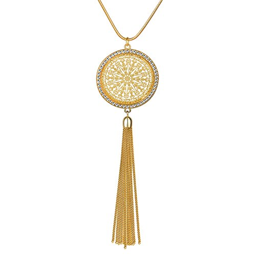 Tassel Necklace Y Shaped Long Chain Necklace Disk Circle Pendant Bohemian Fashion Jewelry for Women