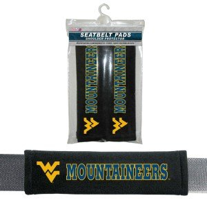 NCAA West Virginia Mountaineers Velour Seat Belt Pads, One Size, - Malls Outlet Va