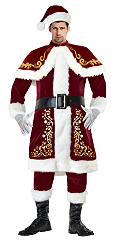 Lusiya Men's Plus Size Santa Christmas Costume Dark-red X-Large (Velvet Santa Suit Costume)