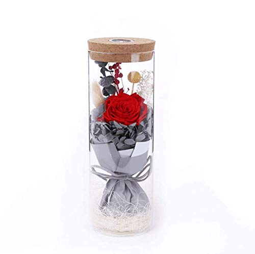 sexyrobot Glowing Preserved Red Rose in a Glass, RGB Preserved Fresh Flower Glowing Colorful with Remote Control as Wedding Mother's Day Creative Gifts -