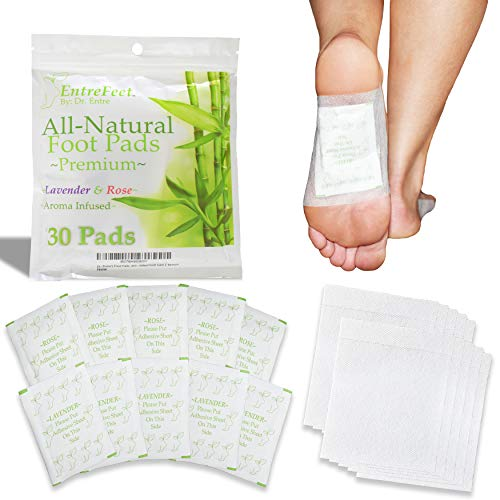 Dr. Entre's Foot Pads: Premium 100% Organic All Natural Ingredients for Impurity Removal, Pain Relief, Sleep Aid, and Relaxation   Aroma Infused Cleanse Patch   Easy & Effective   30 Pack