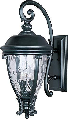 - Maxim Lighting 41426WGBK Three Light Water Glass Wall Lantern, Black