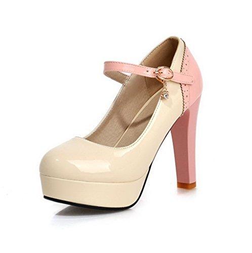 AllhqFashion Damen Schnalle PU Leder Rund Zehe Hoher Absatz Gemischte Farbe Pumps Schuhe Cremefarben