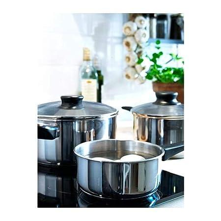 IKEA 5-PIECE COOKWARE SET STAINLESS STELL 3 Pots /& 2 lids