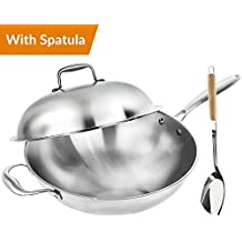 Wok Pan with Premium Lid and Bonus Bamboo Spatula - Thick 13 Inch Stainless Steel Fry Pan with Ergonomic Handle and Non-Stick Scratch-Resistant Surface - Sturdy 2mm thick design that is Oven-Safe
