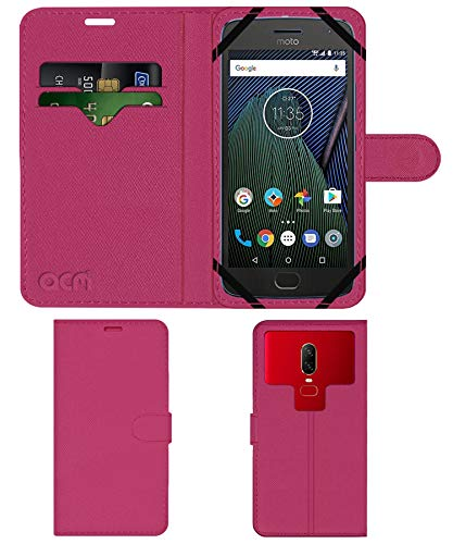 Acm Strap Leather Flip Case Compatible with Motorola Moto G5 Plus Mobile Front   Back Cover Pink