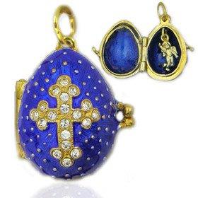 Eggs All Kinds Egg Pendant Locket Cross w/Angel Sterling Silver 925 Gold Plated 22kt Swarovski Crystals Blue Color ()