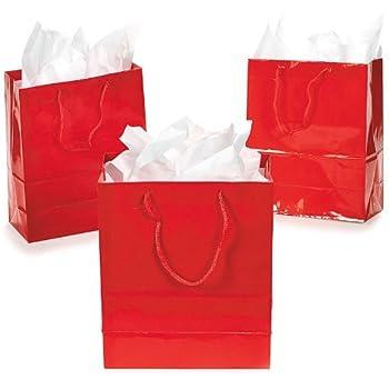 Amazon Com Small Red Gift Bags 1 Dozen Bulk Toy