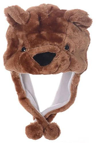 Animal Head Super Soft Plush Childrens Hat - Grizzly Bear