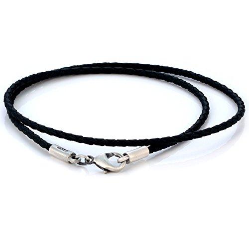 Bico Australia Black Braided Faux Leather Necklace Thin Width