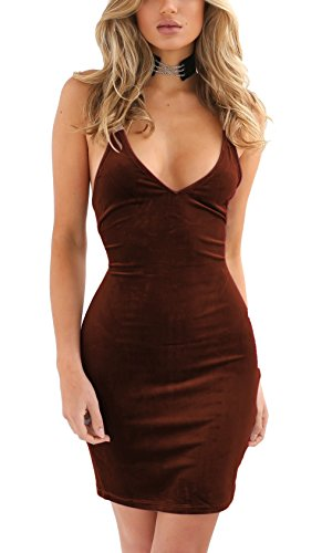 Zyyfly Doramode Womens Spaghetti Strap Bodycon Sleeveless Backless Velvet Sexy Short Club Dress Brown/Coffee ()