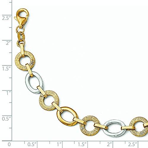 """14 carats-Bicolore-poli et texturé Bracelet-Fancy-JewelryWeb 8 """""""
