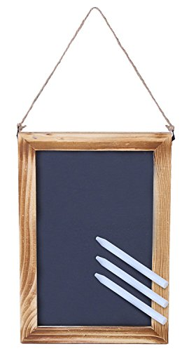 Wooden Framed Chalkboard Sign - Decorative Hanging Slate Double Sided Chalk Board with Hemp String - For Restaurants, Weddings, Home, Parties, Kitchens, Bars & More - 3 White Chalks Included, 7x10 In All Purpose Easel
