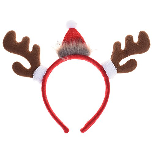 BCP Red and Brown Color Cute Reindeer Antlers Headband for Christmas Holiday Party Girls Reindeer Costume