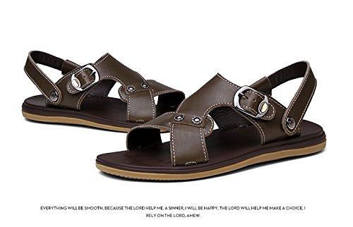 Sandali di estate dei nuovi sandali di estate di estate i sandali degli uomini due generi di metodo di usura uomini scarpe grandi, cachi, UK = 8.5, EU = 42 2/3