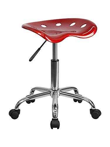 Vibrant Wine Red Tractor Seat and Chrome Stool [LF-214A-WINERED-GG] Electronics, Accessories, Computer