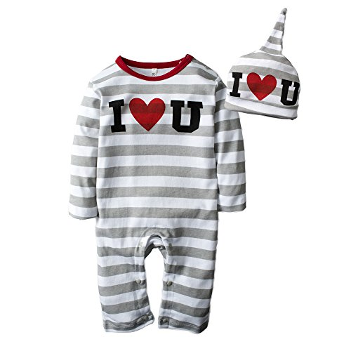 Big Elephant Baby Boys' 2 Piece Long Sleeve Romper Pajama with Hat H65