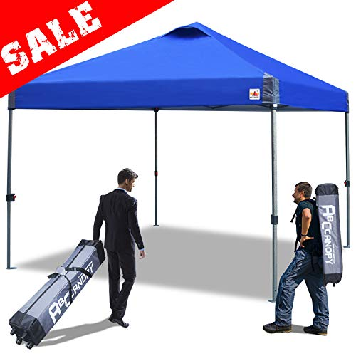 ABCCANOPY Canopy 10×10 Compact Canopy Pop Up Tent 10×10 Canopy Instant Portable Shade Outdoor Canopy Bonus Wheeled Carry Bag, Stakes and Ropes. Blue