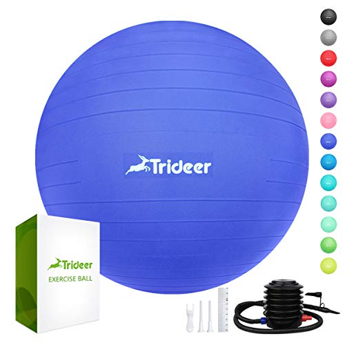 (Trideer Exercise Ball (45-85cm) Extra Thick Yoga Ball Chair, Anti-Burst Heavy Duty Stability Ball Supports 2200lbs, Birthing Ball with Quick Pump (Office & Home & Gym))