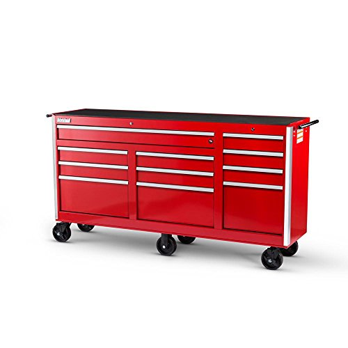 International Tech Series 73 in. 11-Drawer Roller Cabinet Tool Chest RED (Cabinet 6 Series Side Drawer)