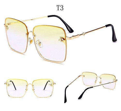 la decoración tamaño de de reflectante hombres sol protección abeja gran cuadradas de marco ATNKE HD de UV400 gafas gafas con T3 metal lente para mujeres de Moda azwcUq5