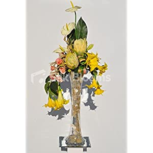 Striking Artificial Yellow Protea, Trumpet Lily and Anthurium Floral Vase Display 70