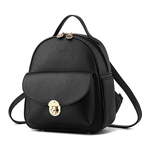 Hynbase Girls Fashion Cute Korean Style PU Leather Backpack Shoulder Bag Black by Hynbase